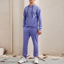 Men Letter Embroidered Hoodie & Sweatpants Set