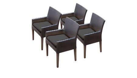 Barbados Collection BARBADOS-TKC097b-DC-2x-C-BLACK 4 Dining Chairs With Arms - Wheat and Black