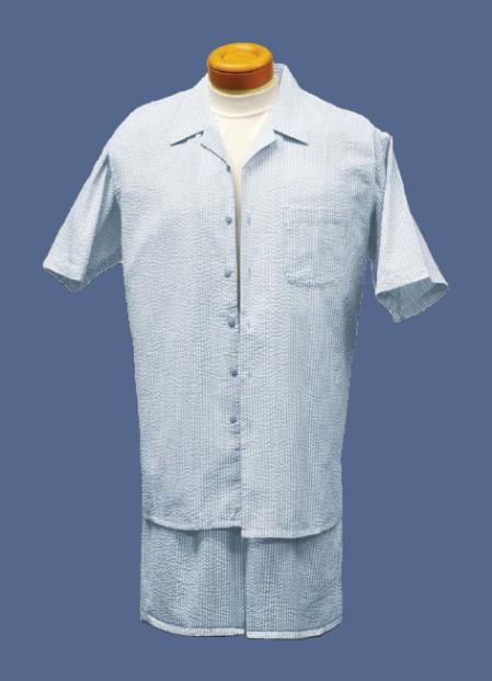 Short Set Seersucker Fabric Walking Suits Sky Blue