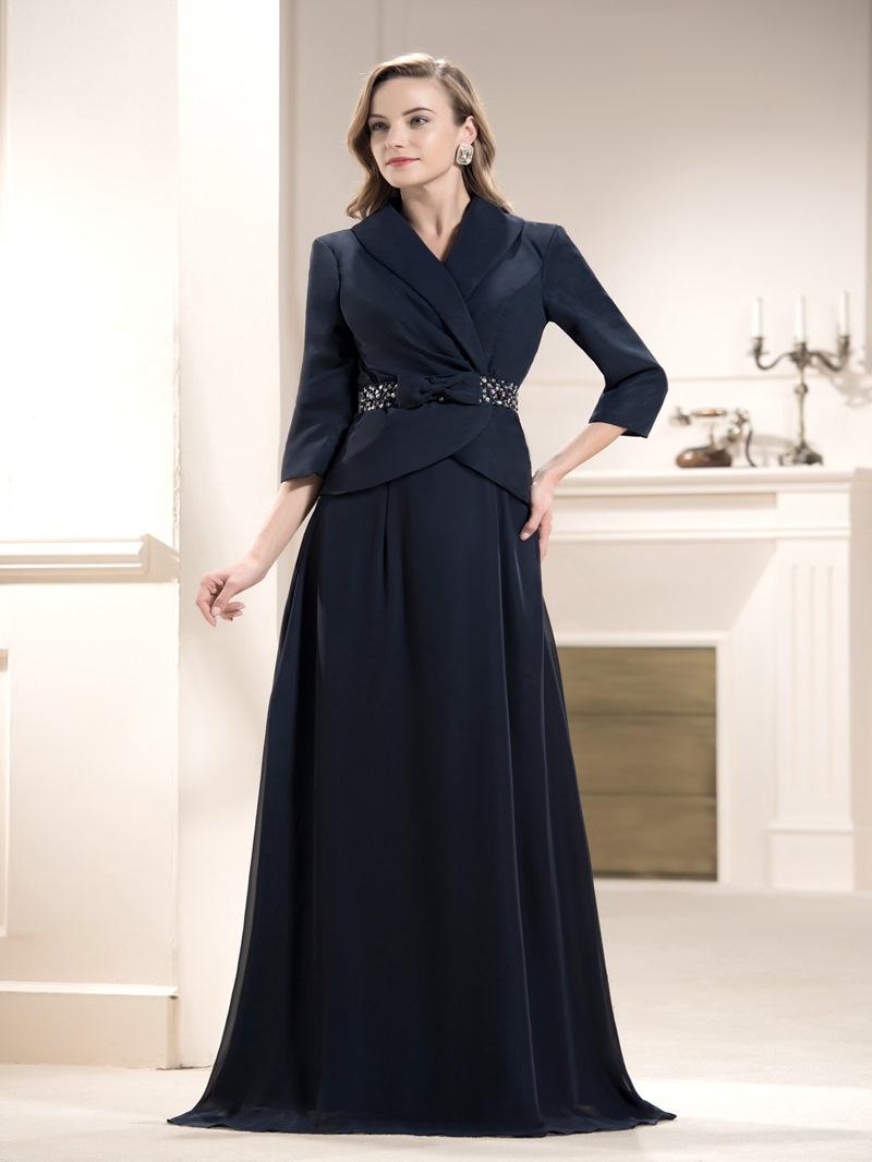 Elegant A-line Beading Floor Length Floor-Length Mother of the Bride Dress