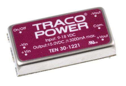 TRACOPOWER TEN 30 30W Isolated DC-DC Converter Through Hole, Voltage in 9 → 18 V dc, Voltage out ±5V dc