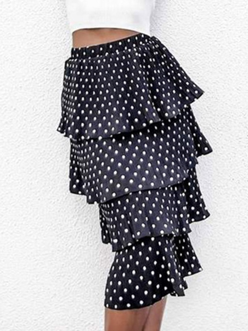 Ericdress Print Polka Dots Cupcake High Waisted Skirts