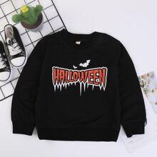Toddler Boys Halloween Letter Graphic Round Neck Sweatshirt