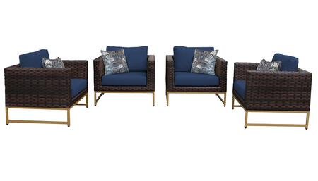 Barcelona BARCELONA-04g-GLD-NAVY 4-Piece  Patio Set 04g with 4 Club Chairs - Beige and Navy Covers with Gold
