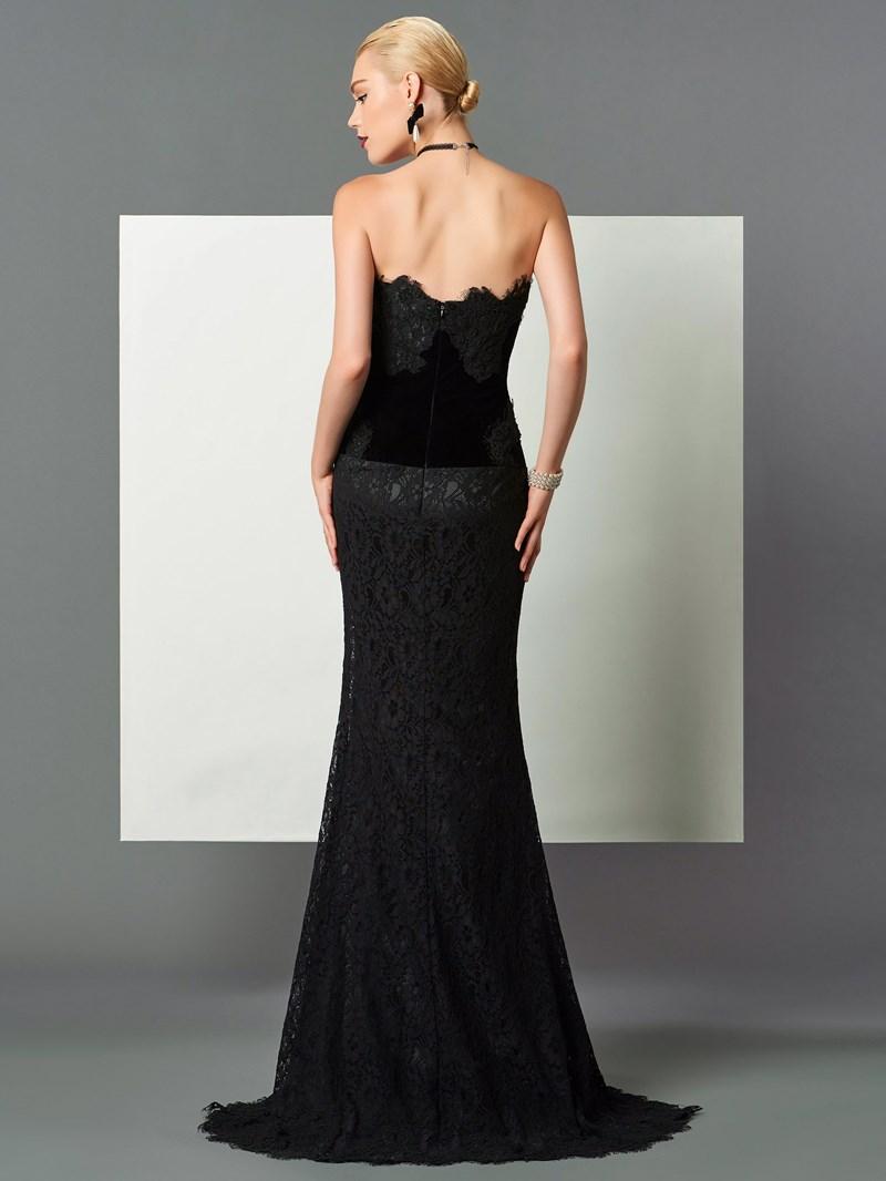 Ericdress Column Strapless Lace Evening Dress