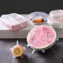 6 Stuecke Silikon Lebensmitteldeckel