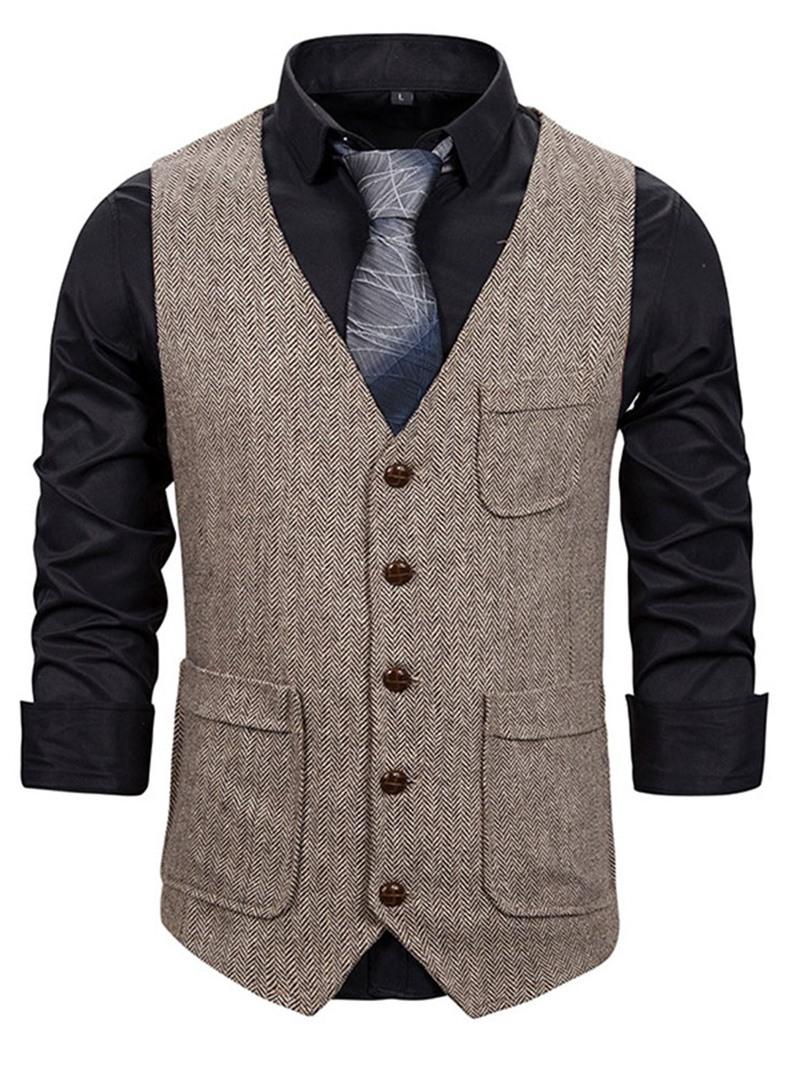 Ericdress Plain Pocket V-Neck OL Single-Breasted Waistcoat