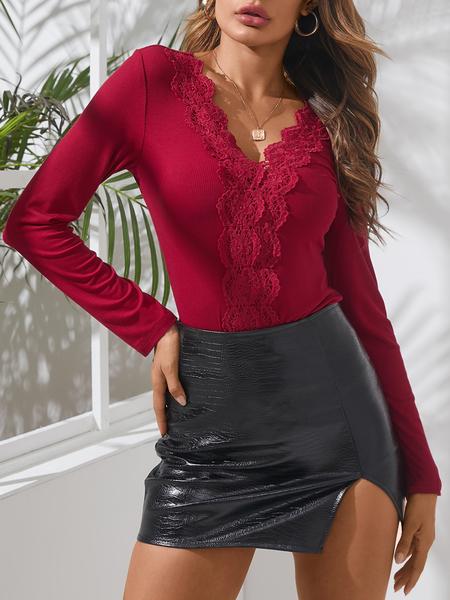 YOINS Plain Lace Insert Design V-neck Long sleeves Knit Tops