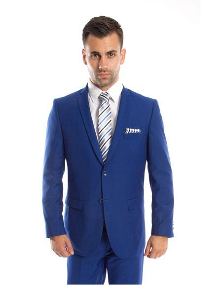 Single Royal Blue 2 Button Front Slim Fit Double vents 2 Piece Suit
