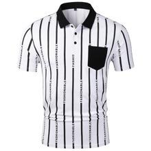 Polo Shirt mit Buchstaben Grafik und Streifen