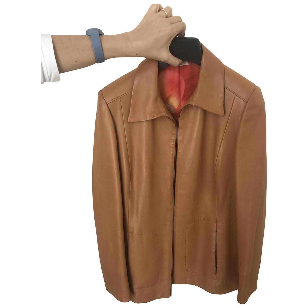 - Manteau   pour femme en cuir - camel