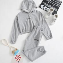 Crop Hoodie & Jogginghose Set mit Buchstaben Grafik