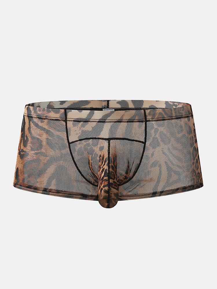 Sexy Mesh Leopard Breathable Elephant Boxer Briefs Shaped Underwear For Men