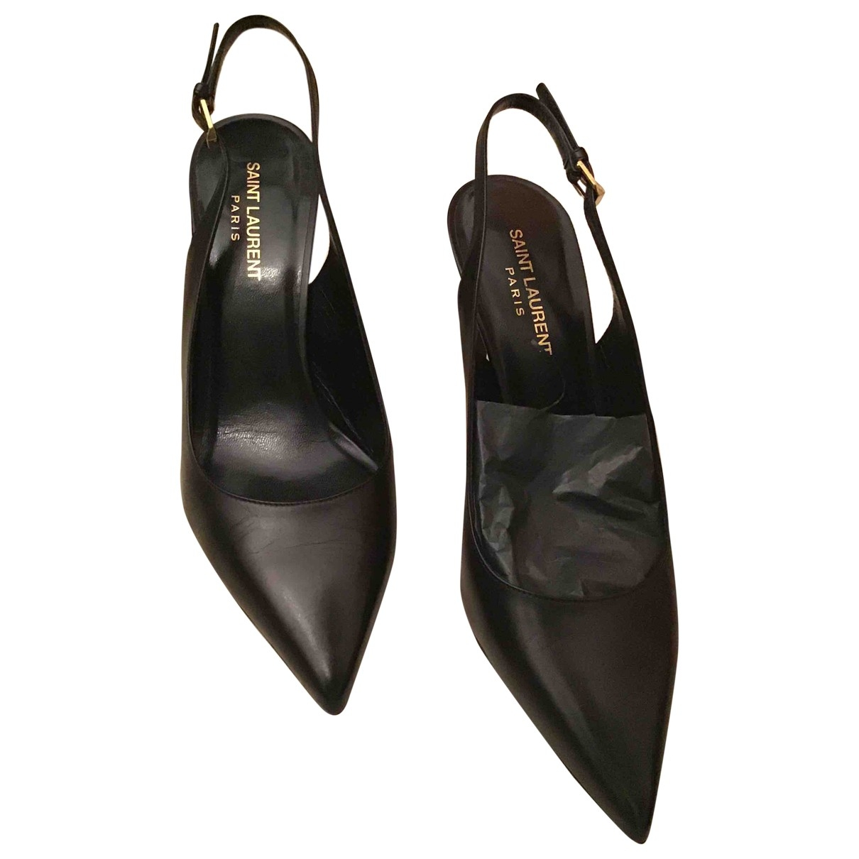 Saint Laurent \N Black Leather Heels for Women 39 EU