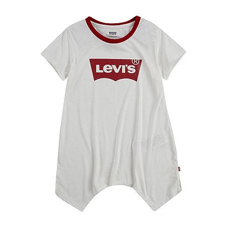 Levi's Big Girls Round Neck Short Sleeve Tunic Top, Small , White
