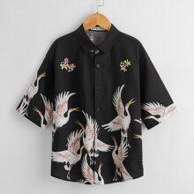 Camisa con estampado floral con cisne