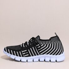 Striped Graphic Lace Up Decor Knit Sneakers