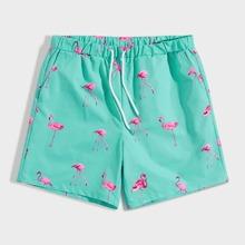 Men Drawstring Waist Flamingo Print Shorts