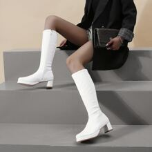 Side Zip Patent Knee Boots
