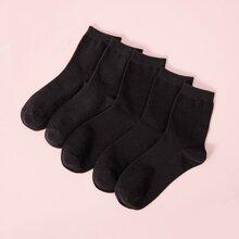 5 Paare Einfarbige Socken