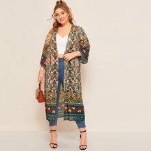 Plus Tribal Print Semi Sheer Kimono