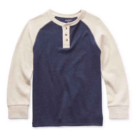 Arizona Little & Big Boys Henley Neck Long Sleeve Thermal Top, Xx-small (4-5) , Blue