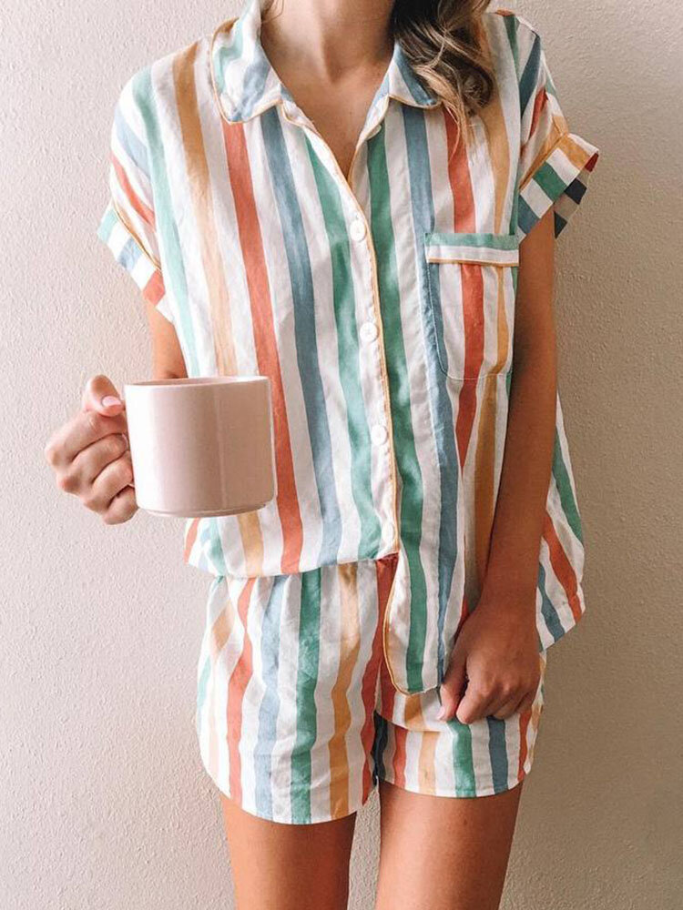 Women Multi Color Stripe Short Sleeve Shirt Pajamas Sets With Pocket