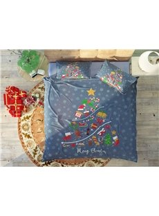Blue Cartoon Style Christmas Soft Wear-resistant Breathable High Quality 60s Cotton 4-Piece 3D Bedding Sets