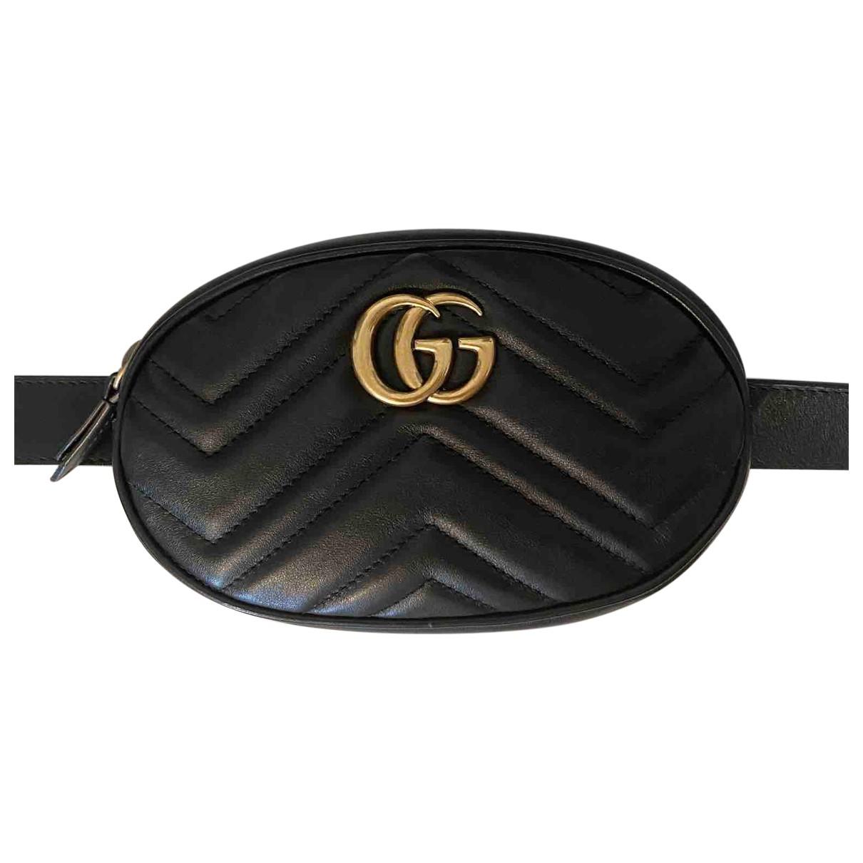 Gucci Marmont Clutch in  Schwarz Leder