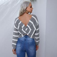Drop Shoulder Twist Back Striped Sweater