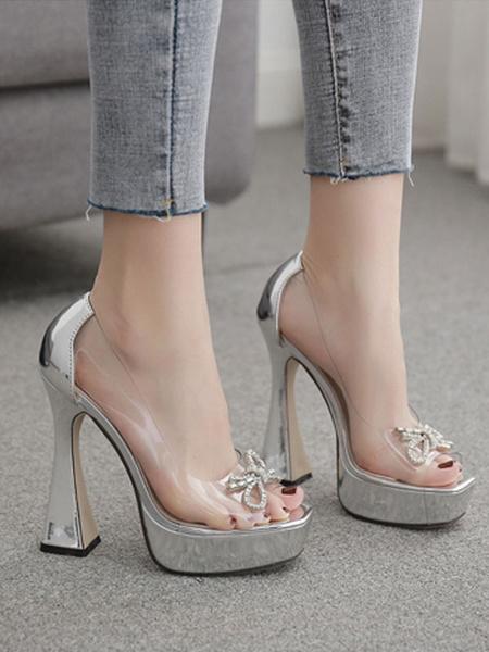 Milanoo High Heel Sexy Sandals Silver PU Leather Open Toe Platform Transparent Sexy Pumps