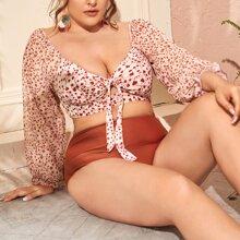 Grosse Grossen - Bikini Badeanzug mit Blatt Muster und Knoten vorn