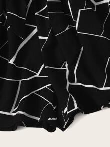 Girls Paperbag Waist Self Belted Geo Shorts