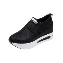 Zapatillas cuñas brillantes slip on