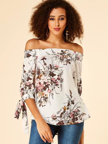 YOINS White Floral Print Off The Shoulder Blouse