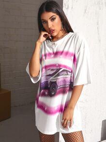 Drop Shoulder Car Print Longline Tee
