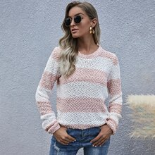 Two Tone Striped Popcorn Knit Sweater