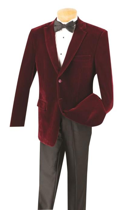 Cheap Big/Tall Blazers Wine Clearance Velvet Velour Blazer/Sport Coat