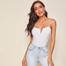 V-bar Rib-knit Cami Top