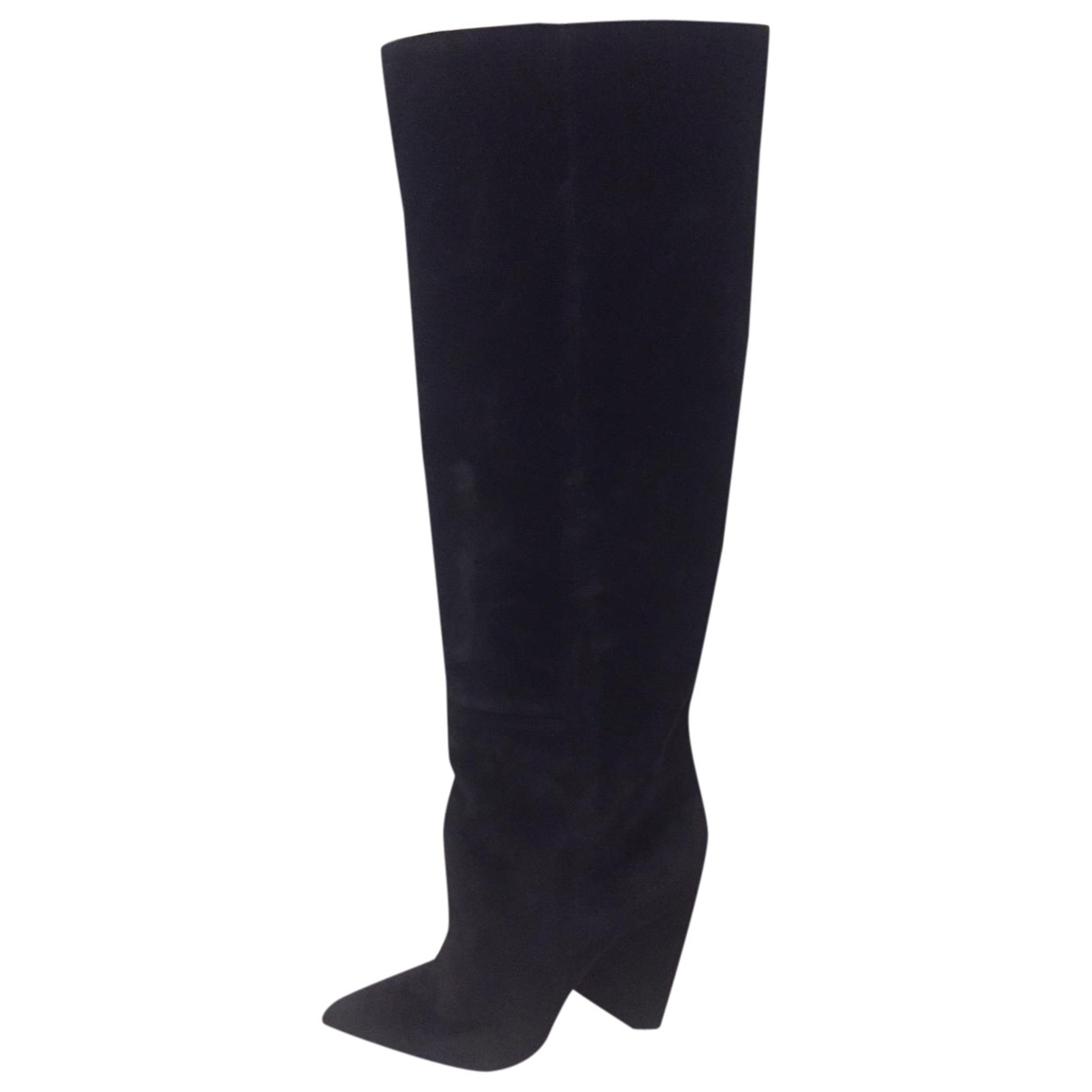 Saint Laurent Niki Black Velvet Boots for Women 40 IT