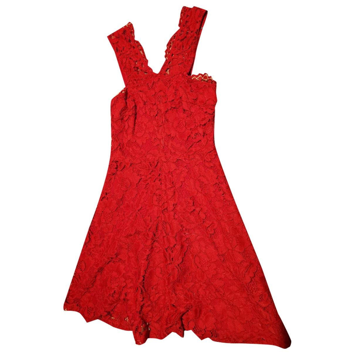 Sandro - Robe   pour femme en dentelle - rouge