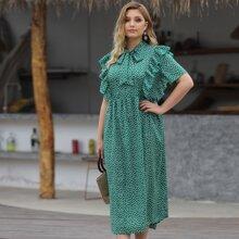 Grosse Grossen - A Linie Kleid mit Gaensebluemchen Muster, Halsband und Raffung