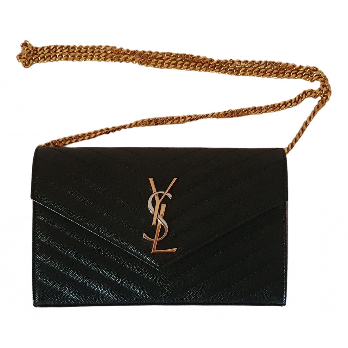 Saint Laurent Portefeuille enveloppe Black Leather Clutch bag for Women N