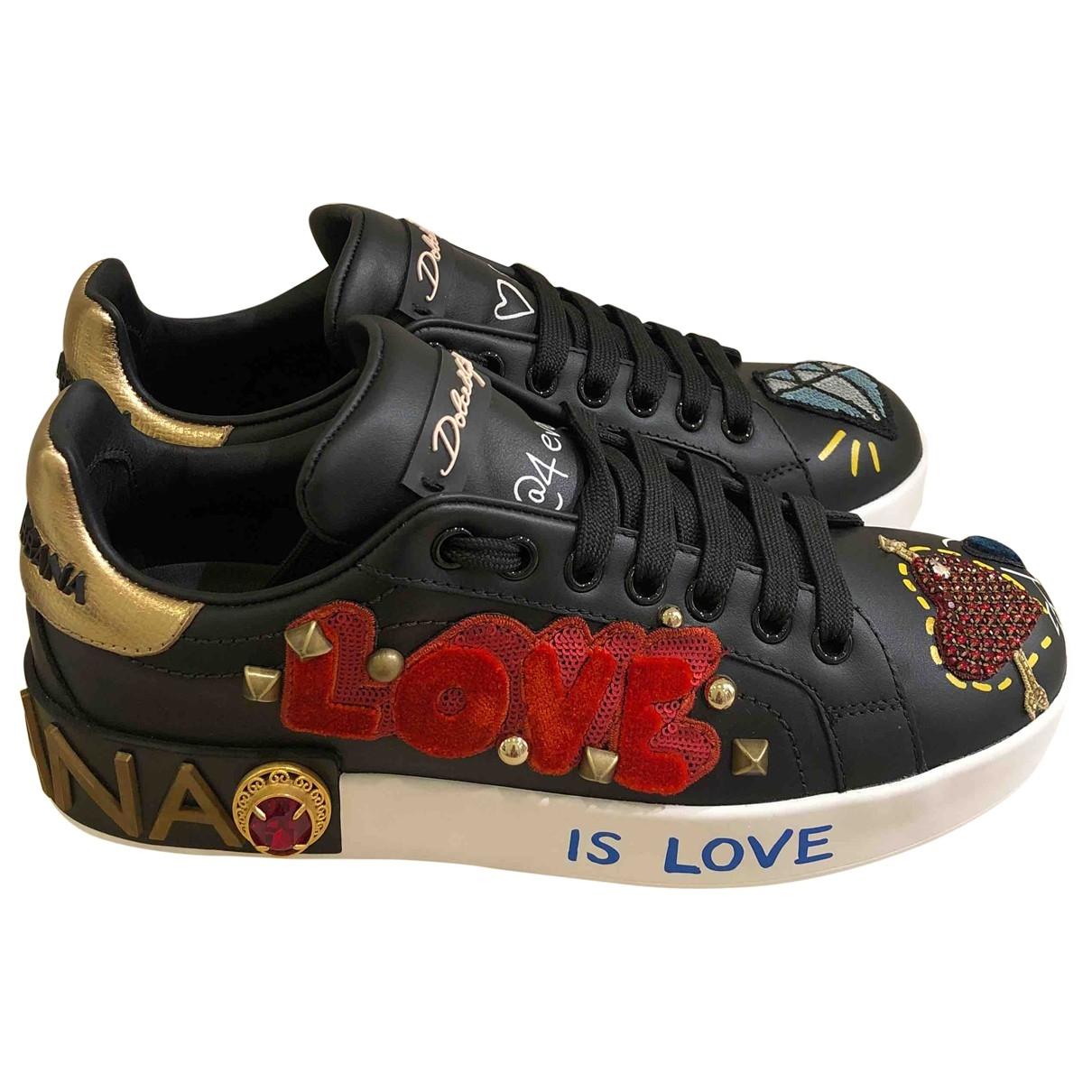 Dolce & Gabbana Portofino Sneakers in  Schwarz Leder