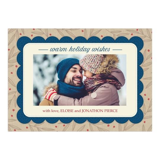 20 Pack of Gartner Studios® Personalized Rustic Fringe Christmas Flat Photo Card in Navy Blue   5