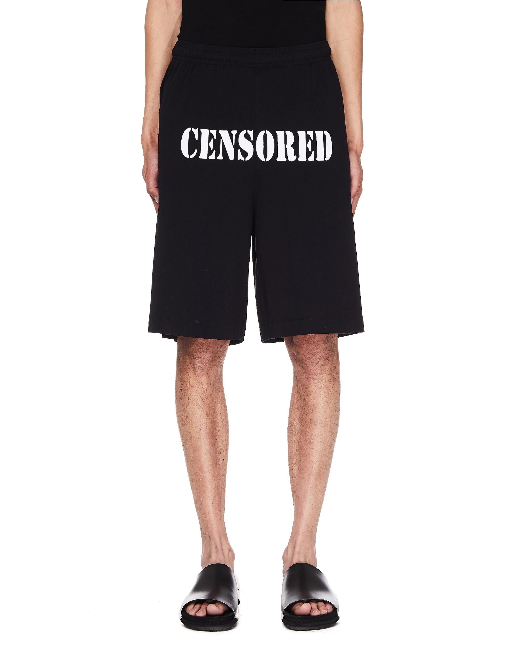 Vetements Censored Cotton Shorts
