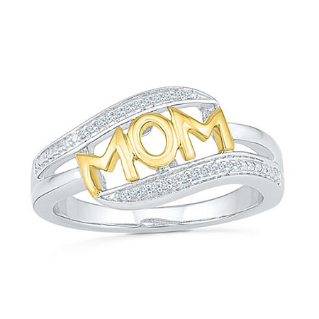 Womens Diamond Accent Genuine White Diamond 10K Gold Over Silver Cocktail Ring, 6 1/2 , No Color Family