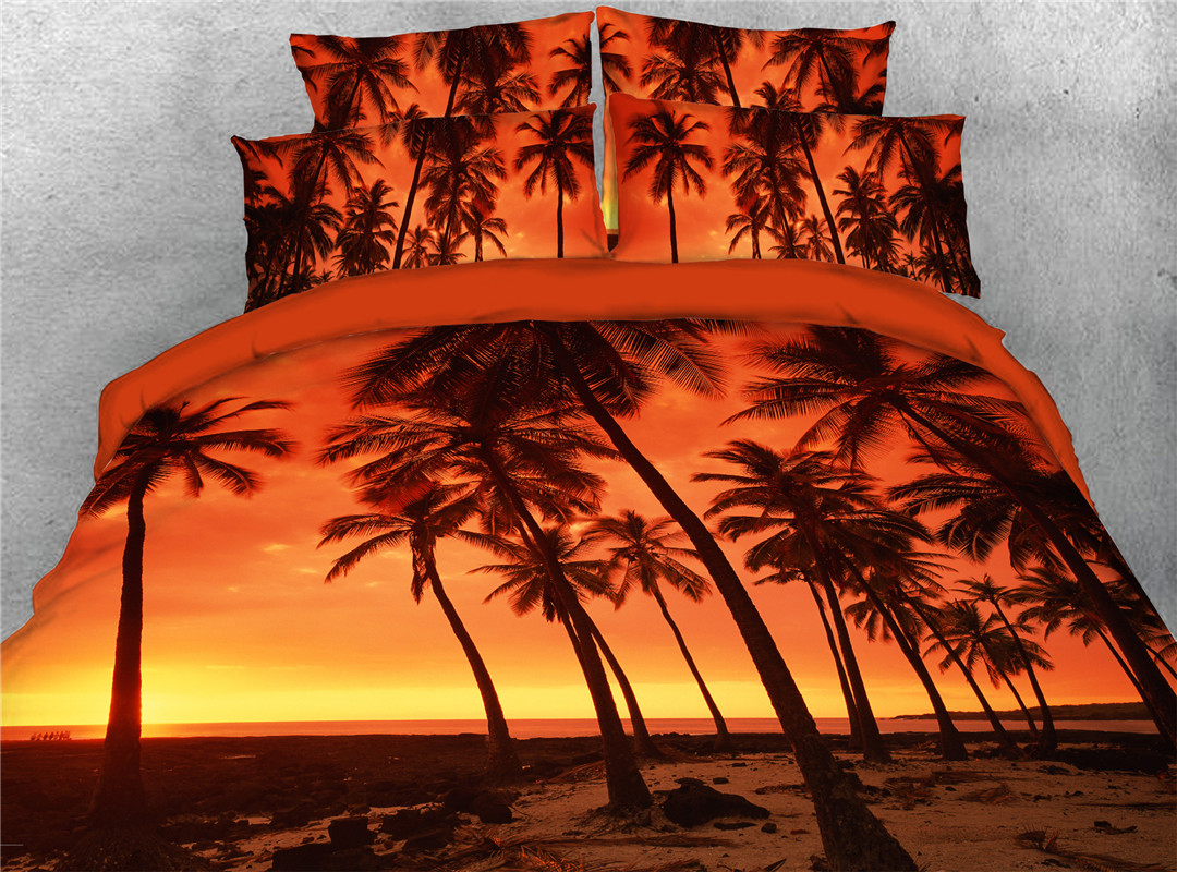 Coconut Palm At Dusk Four-Piece Set Duvet Cover Set Machine Wash Polyester Bedding Sets