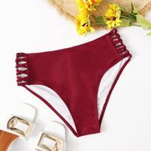 Bikini Hoschen mit Kreuzgurt und hoher Taille