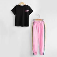 T-Shirt mit Buchstaben Grafik und Jogginghose mit Regenbogen Streifen